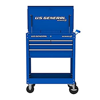 Roller Cart Tool Cabinet Storage Chest Box Glossy 4 Drawer 580 Lb Capacity - Blue