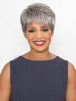 Stella Wig Color 1 Black - Foxy Silver Wigs Short Pixie Off-Center Part Synthetic Feathered Bangs African American Lightweight Average Cap Crown Highlight