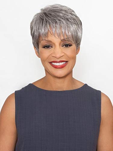 Stella Wig Color FS4/27 - Foxy Silver Wigs Short Pixie Off-Center Part Synthetic Feathered Bangs African American Lightweight Average Cap Crown Highlight