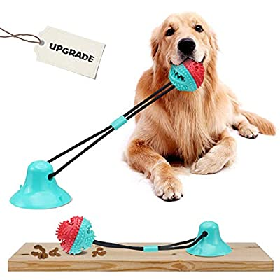 JESTOP Dog Chew Toys with Bell, Suction Cup Teething Rope Toys for Small and Large Dogs, Dogs Training Treats Toy, Multifunctional Interactive Pet Toy