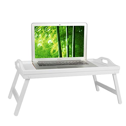 Artmeer Bed Table Tray Bamboo Breakfast Platters Tray with Folding Legs Wooden Kitchen Serving Tray for Bed TV Table Desk Laptop Computer Snack Tray Large Size (White)