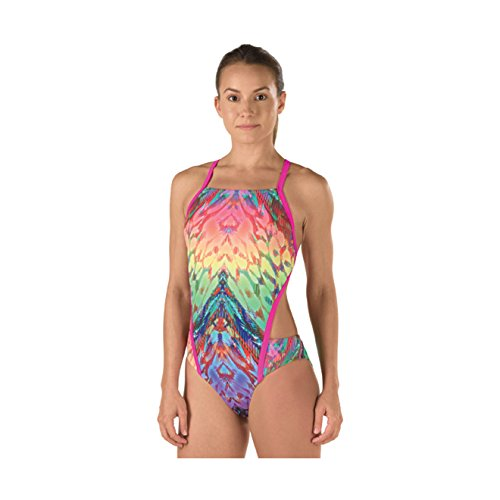 Speedo Damen Badeanzug Rio Printed Rainbow Wings Einteiler, Damen, Mehrfarbig, Size 40