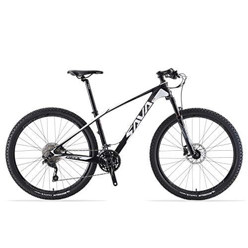 "SAVADECK DECK6.0 Carbon Mountainbike 26""/27.5""/29"" XC Offroad Fahrrad Ultraleichtes Kohlefaser MTB mit 30-Gang Shimano DEORE M6000 Group Set und Komplette Hard Tail (Weiß, 27.5 * 17)"