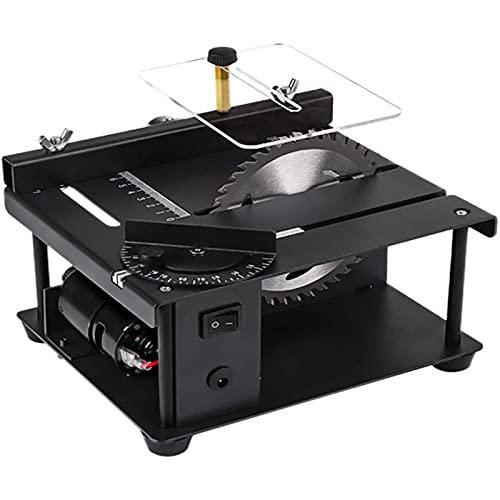 Sierra de mesa portátil de sobremesa, Mini sierra de mesa de precisión, sierra de mesa multifunción con hoja de sierra y adaptador de corriente, bajo ruido, corte de ángulo para BRICOLAJE Hobby Crafts