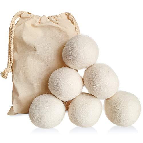 Bolas Secadora Lavadora - Bolas de Hule para Lavadora - Pack de 6 Pelotas de Lana Organica 6cm - Dryer Balls - Bolas de Secado Ropa Ecologicas