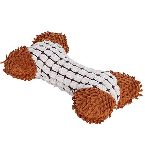 Dact Hondenspeelgoed, interessant pluche tweekleurig, botvormig, beetvast piepspeelgoed voor honden, bot-speelgoed voor honden, duurzaam, vrijwel onverwoestbaar bot, donkerbeige