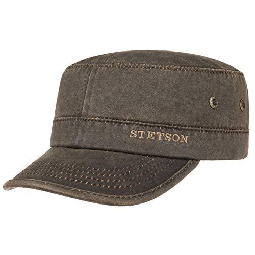 Stetson Datto Army Cap (Kubacap), coole aus Baumwolle gefertigte Militärmütze für Herren, Armee-Mütze Gr.M/56-57-Braun
