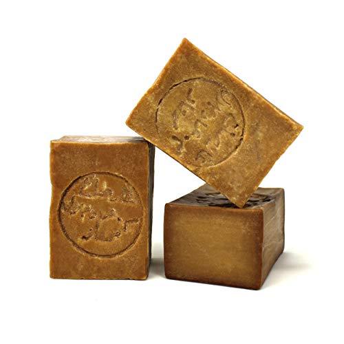 Jabón de Alepo 3 piezas - Aceite de Oliva y Aceite de Laurel 16% - Método tradicional - Alepo puro y natural, receta original