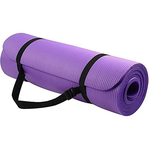 Nsdsb Colchoneta De Yoga Colchoneta De Ejercicio con Correa De Transporte Colchoneta De Yoga De Alta Densidad 183 * 61 * 1 Cm Púrpura 183 * 61 * 1 Cm