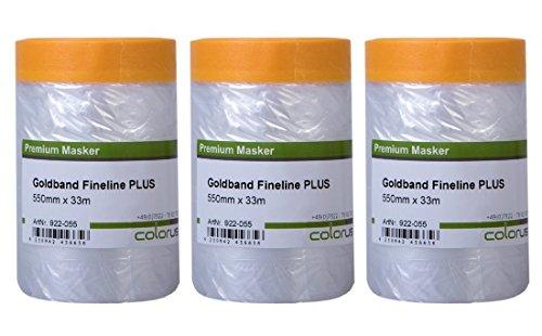 3 x Colorus Goldband Masker Tape PLUS | Malerband mit Abdeck-Folie 55 cm x 33 m | Abdeckband mit Maler-Folie, Innen und Außen | Selbstklebende Malerfolie mit Acrylat-Kleber | UV beständig