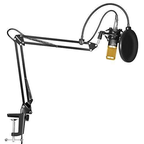 Neewer Professional Studio Broadcasting Recording Condenser Microphone & NW- 35 Adjustable Recording Microphone Suspension Scissor Arm Stand with Shock Mount and Mounting Clamp Kit