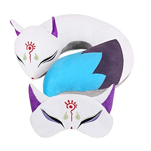 Niedlicher Fuchs Plüsch Hals U Kissen Anime U-förmiges Reisekissen mit Schlafaugenmaske, niedliches Anime gefüllt Cartoon weich bequem Gepäck Kissen mit Augenabdeckungen für Flugzeug Auto Zug