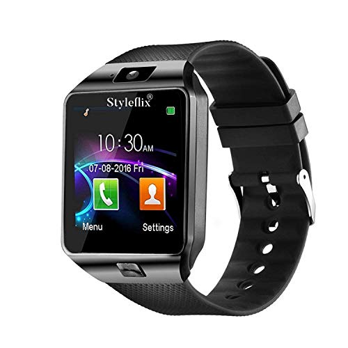 Styleflix Smartwatch Bluetooth with Camera Sim Card Supported, Health Fitness Tracker Smart Watch for Mens Boys and Girls (Black)