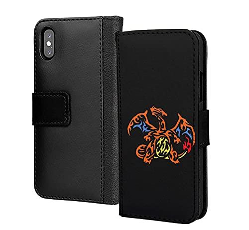 Oro Mayhem Mega Charizard Lizardon teléfono caso pu cartera de cuero en tarjeta teléfono caso cubierta para Huawei Y6 2019