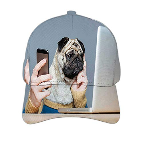 Pug Dog with Man Hands Using Laptop and Cell Phone Dog,Adjustable Snapback Hat for Men Women Smart