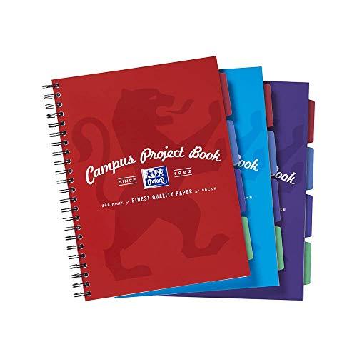 Oxford Campus Project Book - Paquete de 3 cuadernos de anillas (A4, 200 páginas), multicolor