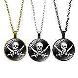 Toyvian Collar de Calavera Pirata Colgante Personalizado para niños Hombre Mujer 3 Piezas