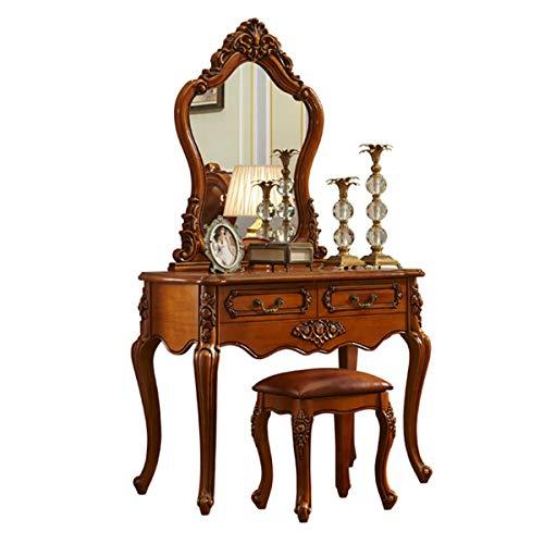 SND-A Eitelkeitstabelle - Klassischer Retro-Massivholz-Schminktisch-Set - Kosmetik-Tisch - Makeup-Schreibtisch-Schlafzimmermöbel, Schminktisch Mit Hocker, Spiegel Und 3 Lagerschubladen,1.0M