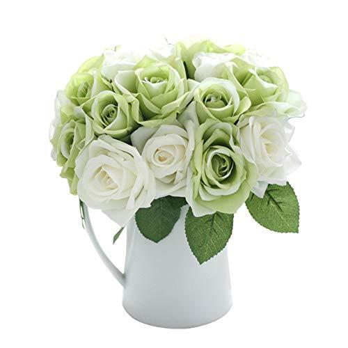 Flores Artificiales Decoración Rosas Plásticas de Seda 9 Cabezas Ramo Nupcial de la Boda para el Hogar Fiesta (Blanco verde)