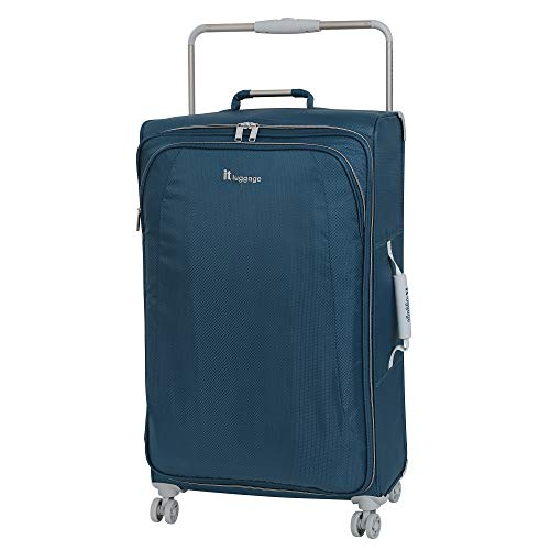 IT Luggage 27.6' World's Lightest 8 Wheel Spinner, Ashes with Vapor Blue Trim