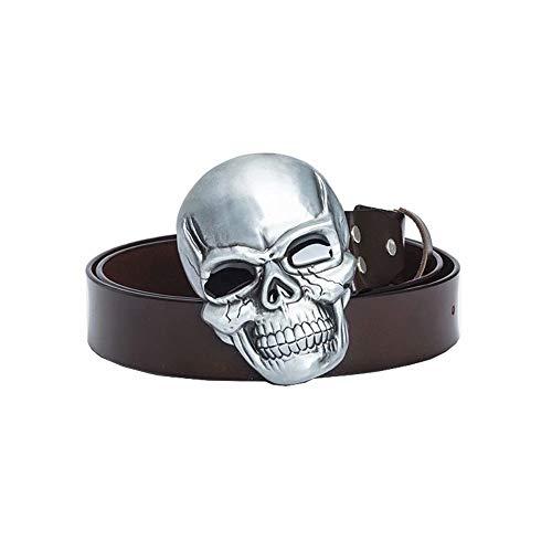 Cinturones De Cuero para Hombre Cinturón De Ocio De Diseñador para Hebilla De Calavera Masculina Cinturones Únicos (120 Cm)