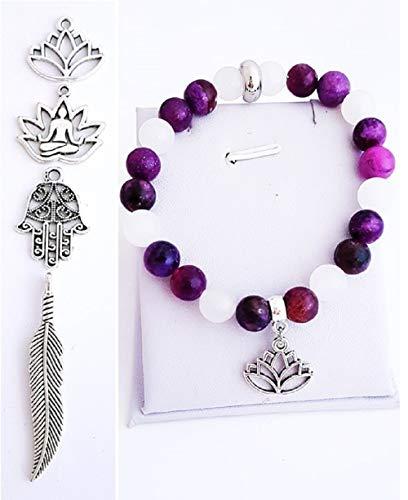 Handmade Purple Sugilite Jasper and Snow Quartz Gemstone Beaded Charm Stretch Bracelet