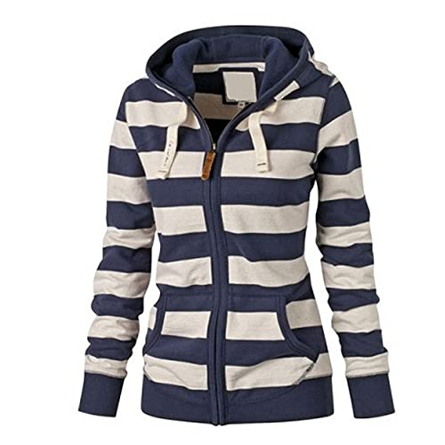 LOOKAa Gestreifte Sweatshirtjacke mit Reißverschluss Jacke Damen Kapuzenjacke Hoodie Pullover Kapuzenpullover mit Kordel Zip Casual Langarm...