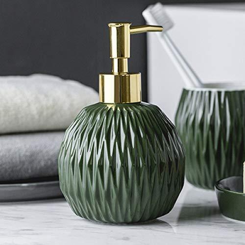 ZJMIQT zeepdispenser, vloeibare zeep groene keramiek badkamer shampoo en douchegel fles met roestvrij staal type gouden kop indrukken