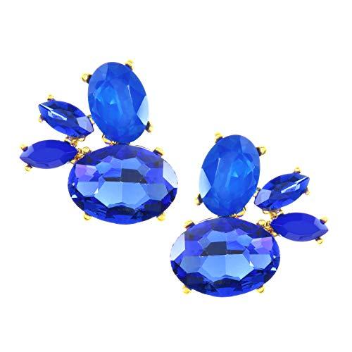 TEMPUS FUGIT. Pendientes Largos. Diseño de Joyería de Fantasía. Chapados en Oro, con cristales de colores brillantes, Incluye una caja para regalo