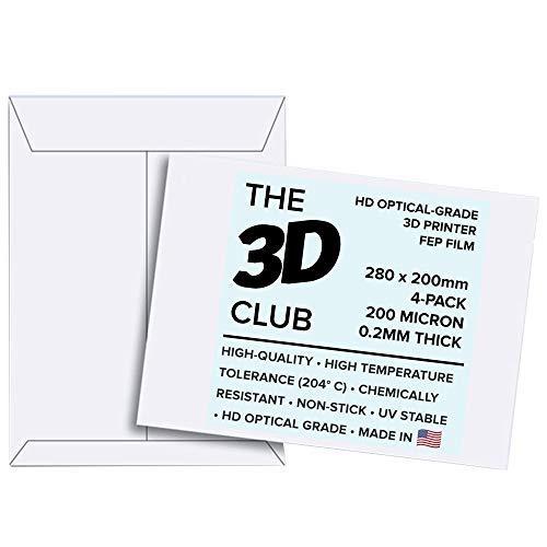FEP Película para impresoras UV 3D, 0,2 mm de grosor, 4 hojas, 280 mm x 200 mm por hoja, grado...