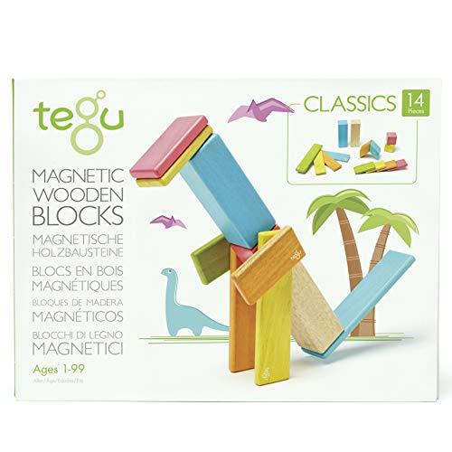 14 Piece Tegu Magnetic Wooden Block Set, Tints