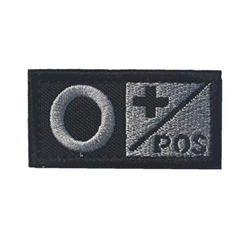 Groupe Sanguin O Pos Badge Morale Durable en Nylon Brodé Insigne Militaire pour Pièces Décoratives Appliques Extérieur Noir