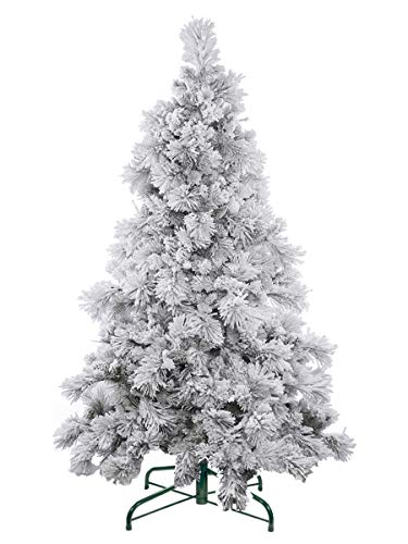 Qualitex Flocked Artificial Christmas Tree Shop White Decoration Unit With Stand No Tools...