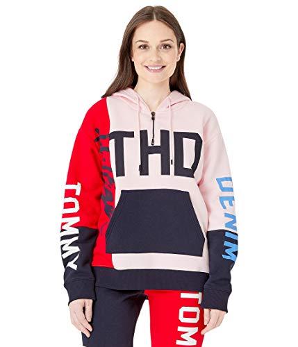 Tommy Hilfiger Damen Hoodie Sweatshirt with Extended Zipper Pull Kapuzenpulli, Rouge/Rot/Murope, X-Large