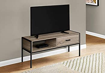 Monarch Specialties Entertainment Center/Media Console - 1 Storage Drawer & 1 Shelf - for Living Room or Bedroom - Modern TV Stand 48  L Dark Taupe
