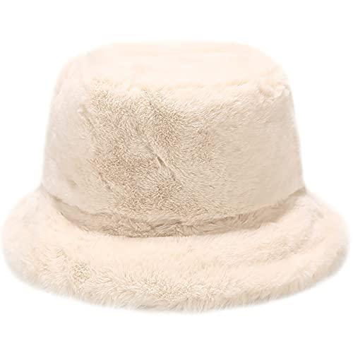 Winter Faux Fur Furry Beige Bucket Hat Fluffy Fuzzy Warm Hat Plush Fisherman Hat for Women Teens Girls