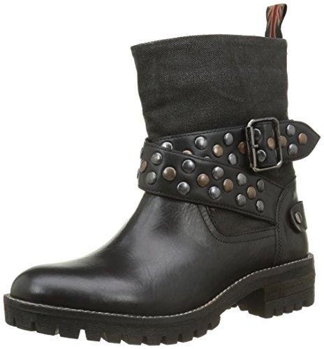Pepe Jeans London Damen HELEN STRAPS Biker Boots, Schwarz (BLACK 999), 40 EU