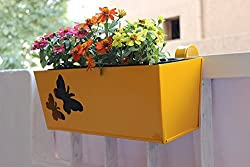 Green Gardenia Railing Rectangular Planter Large with Butterfly