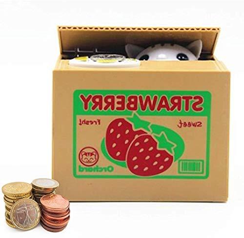 Auped Spardose Digital Sparbüchse Elektronisch Sparschwein Münze Bank für Kinder (Katze-Weiß(Erdbeeren))
