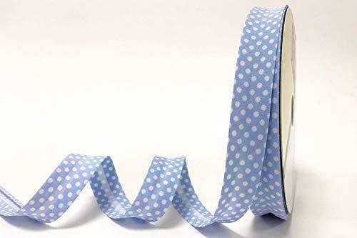 Fany - Cinta al bies (18 mm), diseño de Lunares, Color Azul pálido