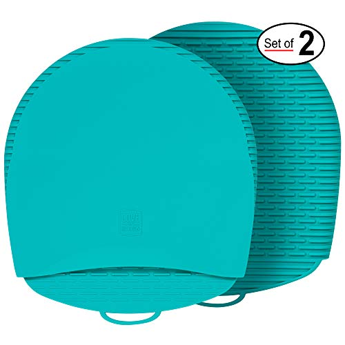 Premium Silicone Oven Mitts and Pot Holders This 100% Silicone Pot Holder is Flexible Durable Easy to Clean These Pot Holders for Kitchen are Healthier Won#039t Grow Mold or Bacteria Teal 1 Pair