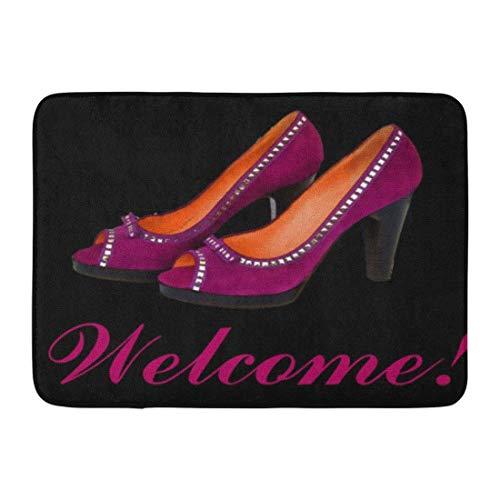 YnimioHOB Alfombrilla de baño Mujer Zapatos de tacón Alto Zapatos morados Tacones...