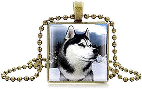 WYDSFWL Collar Collar de Husky Siberiano Reloj Tiempo Gema Piedra Huskies Colgante...