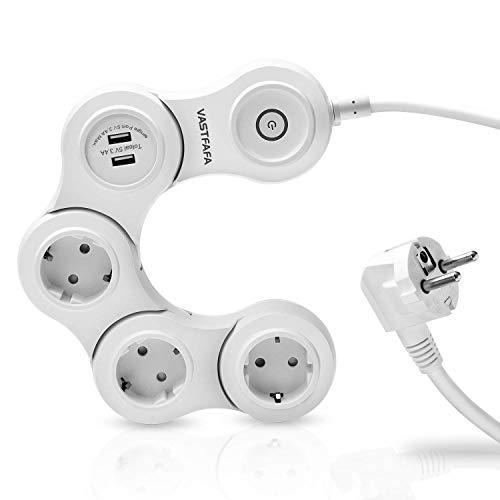 VASTFAFA Steckdosenleiste 3 Fach Mehrfachsteckdose mit 2 USB Steckdosenverteiler mit Schalter 180° Drehen Steckerleiste Überspannungsschutz Mehrfachstecker für Reise 3680W 16A 1,5m Kabel Weiß