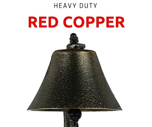 Upstreet Outdoor Dinner Bells Made of Red Copper | Bracket Mounts Bell to Both Indoor Outdoor Wall Surfaces (Red, 6)