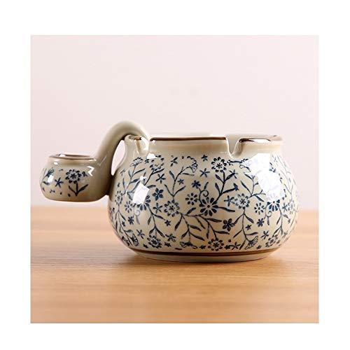 noyydh Estilo japonés, Pintado a Mano, de cerámica Azul y Blanca, con cenicero, Regalo Personalizado, 15X7cm (Color : A)