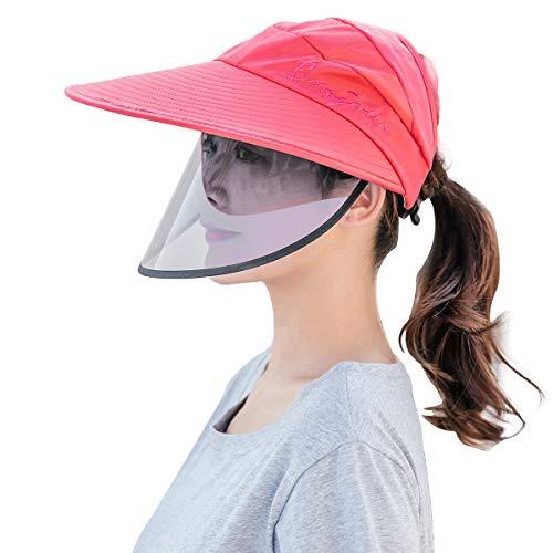FEOYA Estivo Trasparente Regolabile Coperchio Cappellino con Visiera Protettiva Donna Cappello da Sole Protezione Solare - Rosso