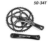 Ligera Bicicletas Crank Crank 50-34T Bicicletas Fixed Gear Set, Aluminio Piñón, Bicicletas Crank Conjunto de Piezas de Bicicleta (Color : Black)