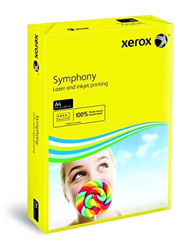 Xerox 003R93952 farbiges Druckerpapier Kopierpapier Symphony intensiv Din A4, 80 g/m², 500 Blatt pro Pack, sonnengelb