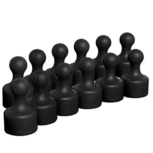 12 schwarze sehr starke Neodym Kegelmagnete   Ø 12 mm   19,5 mm hoch   Magnete mit superstarkem 9x6 mm N35 Neodymkern für Kühlschrank Pinnwand Magnettafel   geringerer Halt auf Glasmagnettafeln